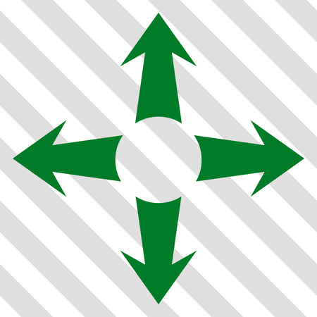 Expand Arrows vector icon. Image style is a flat green iconic symbol on a hatched diagonal transparent background. Illustration