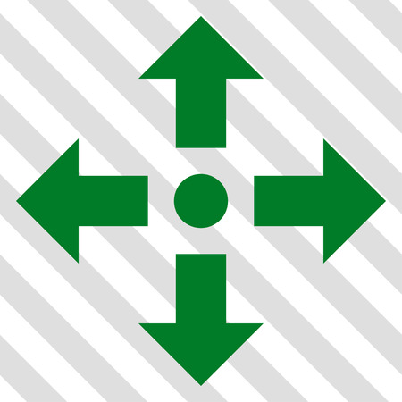 upside: Expand Arrows vector icon. Image style is a flat green pictogram symbol on a hatched diagonal transparent background. Illustration
