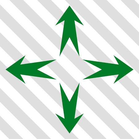 Expand Arrows vector icon. Image style is a flat green pictogram symbol on a hatched diagonal transparent background. Illustration