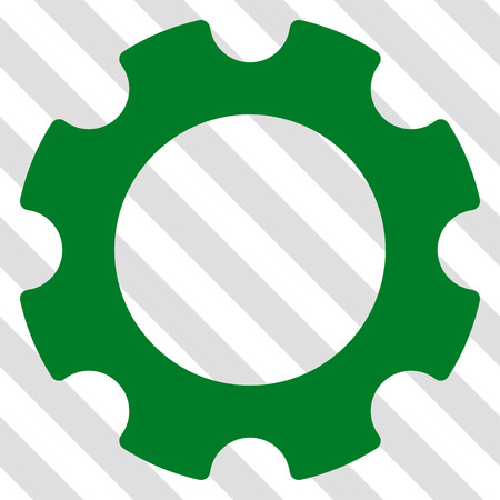 Gear vector icon. Image style is a flat green iconic symbol on a hatched diagonal transparent background.
