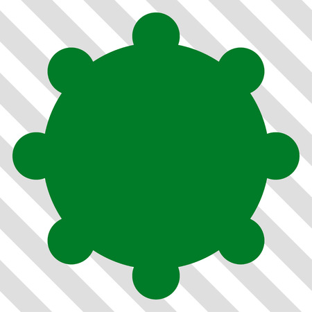 Gear vector icon. Image style is a flat green pictogram symbol on a hatched diagonal transparent background.