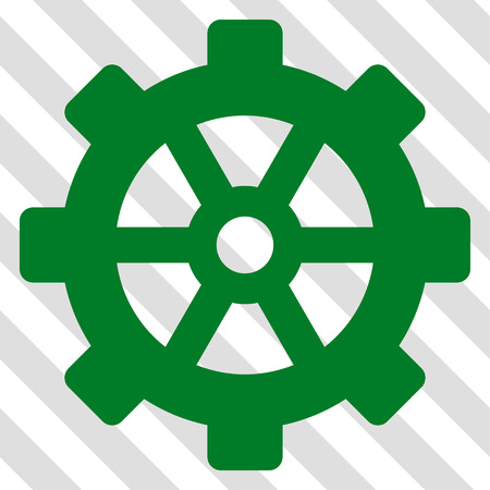 Gear vector icon. Image style is a flat green icon symbol on a hatched diagonal transparent background.