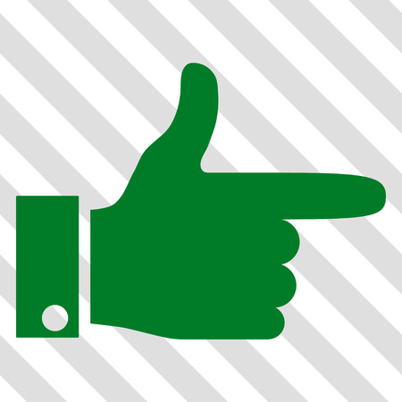 Hand Pointer Right vector icon. Image style is a flat green pictograph symbol on a hatched diagonal transparent background. Illustration
