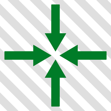 Impact Arrows vector icon. Image style is a flat green iconic symbol on a hatched diagonal transparent background.