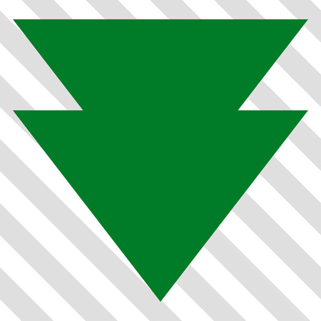 failing: Move Down vector icon. Image style is a flat green pictograph symbol on a hatched diagonal transparent background.