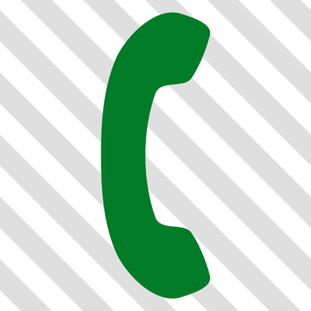 phone receiver: Phone Receiver vector icon. Image style is a flat green pictograph symbol on a hatched diagonal transparent background.