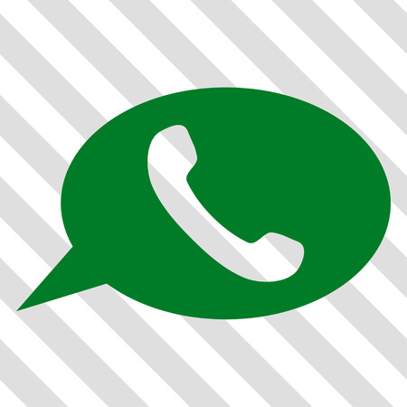 Phone Message vector icon. Image style is a flat green pictograph symbol on a hatched diagonal transparent background. Illustration