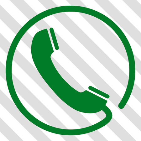 Phone vector icon. Image style is a flat green icon symbol on a hatched diagonal transparent background.