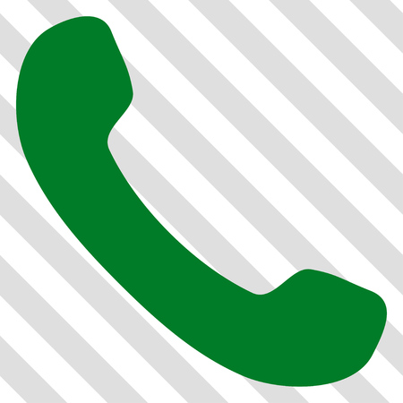 phone receiver: Phone Receiver vector icon. Image style is a flat green iconic symbol on a hatched diagonal transparent background.