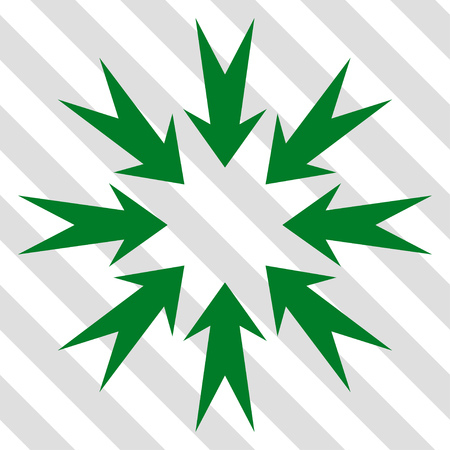 concentrate: Pressure Arrows vector icon. Image style is a flat green pictograph symbol on a hatched diagonal transparent background.