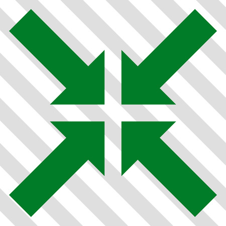 concentrate: Pressure Arrows vector icon. Image style is a flat green icon symbol on a hatched diagonal transparent background.