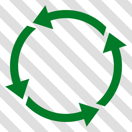 cíclico: Recycle vector icon. Image style is a flat green pictograph symbol on a hatched diagonal transparent background. Vectores