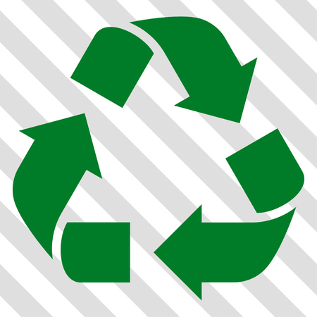 Recycle vector icon. Image style is a flat green icon symbol on a hatched diagonal transparent background. Illustration