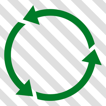 Recycle vector icon. Image style is a flat green pictogram symbol on a hatched diagonal transparent background.