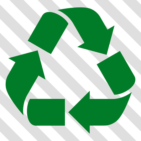 Recycle vector icon. Image style is a flat green pictograph symbol on a hatched diagonal transparent background. Illustration