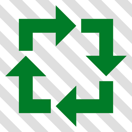 discard: Recycle vector icon. Image style is a flat green icon symbol on a hatched diagonal transparent background. Illustration