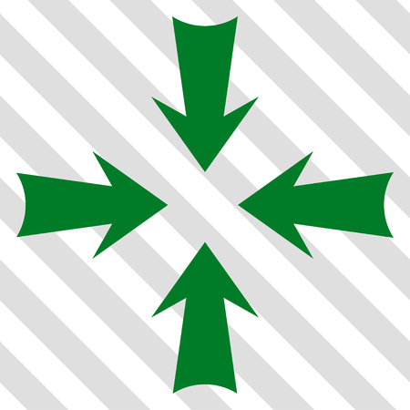 Reduce Arrows vector icon. Image style is a flat green pictogram symbol on a hatched diagonal transparent background. Illustration