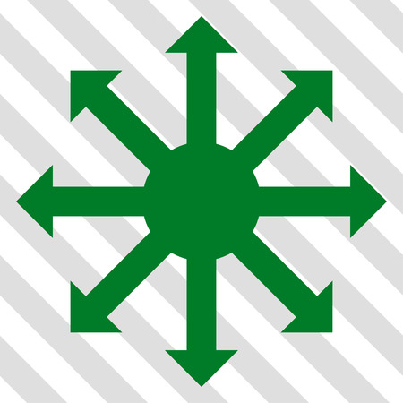 Radial Arrows vector icon. Image style is a flat green pictogram symbol on a hatched diagonal transparent background. Illustration