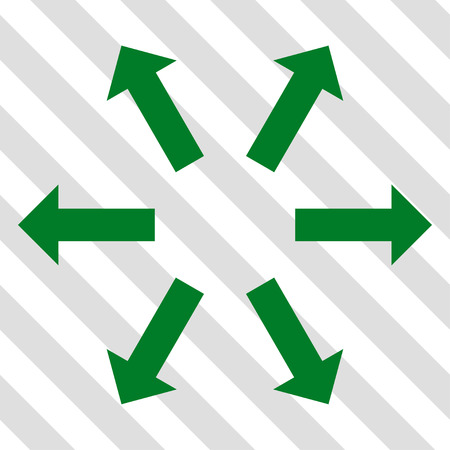 Radial Arrows vector icon. Image style is a flat green pictograph symbol on a hatched diagonal transparent background.