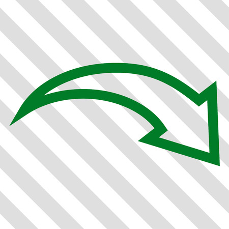 redo: Redo vector icon. Image style is a flat green pictograph symbol on a hatched diagonal transparent background.