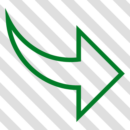 redo: Redo vector icon. Image style is a flat green iconic symbol on a hatched diagonal transparent background.