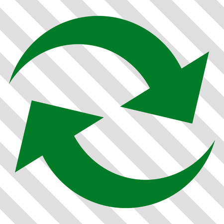 synchronize: Refresh Arrows vector icon. Image style is a flat green iconic symbol on a hatched diagonal transparent background. Illustration