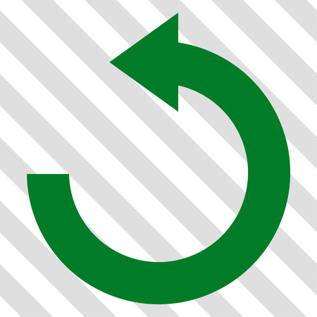 Rotate Left vector icon. Image style is a flat green icon symbol on a hatched diagonal transparent background.