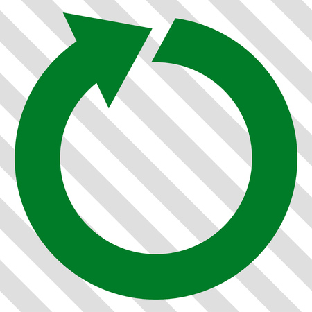 synchronize: Rotate vector icon. Image style is a flat green pictograph symbol on a hatched diagonal transparent background.
