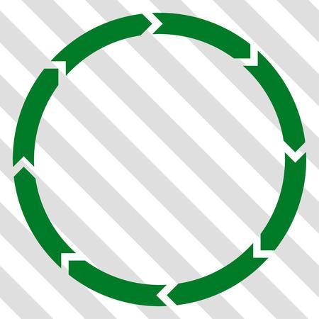 Rotatie vector pictogram. Beeldstijl is een plat groen iconisch symbool op een gearceerde diagonale transparante achtergrond.
