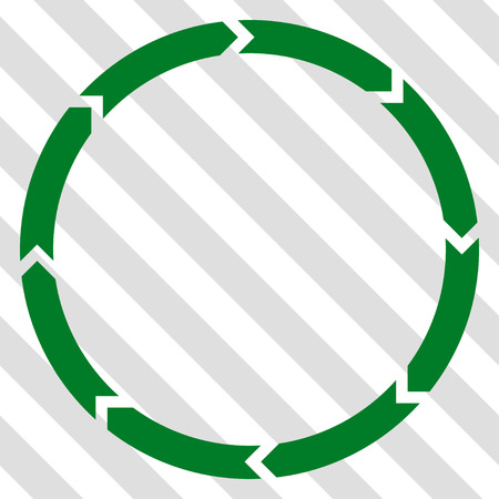 Rotation vector icon. Image style is a flat green iconic symbol on a hatched diagonal transparent background.