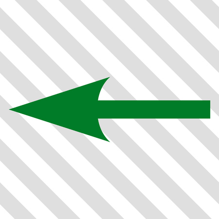 Sharp Arrow Left vector icon. Image style is a flat green iconic symbol on a hatched diagonal transparent background. Illustration