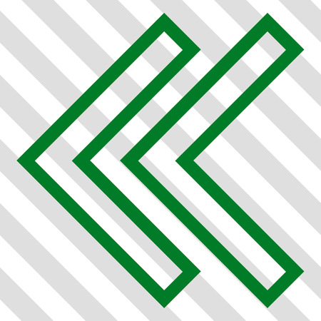 shift: Shift Left vector icon. Image style is a flat green icon symbol on a hatched diagonal transparent background. Illustration