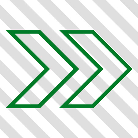 shift: Shift Right vector icon. Image style is a flat green pictograph symbol on a hatched diagonal transparent background.