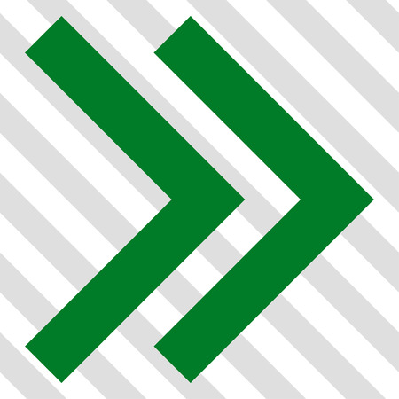 redirect: Shift Right vector icon. Image style is a flat green icon symbol on a hatched diagonal transparent background.