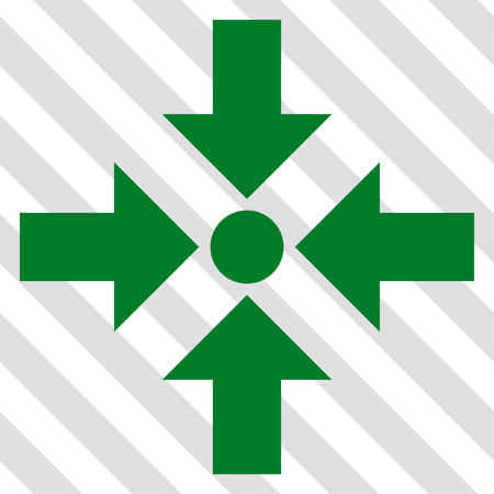 Shrink Arrows vector icon. Image style is a flat green pictogram symbol on a hatched diagonal transparent background.