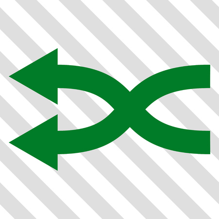 shuffle: Shuffle Arrows Left vector icon. Image style is a flat green iconic symbol on a hatched diagonal transparent background.