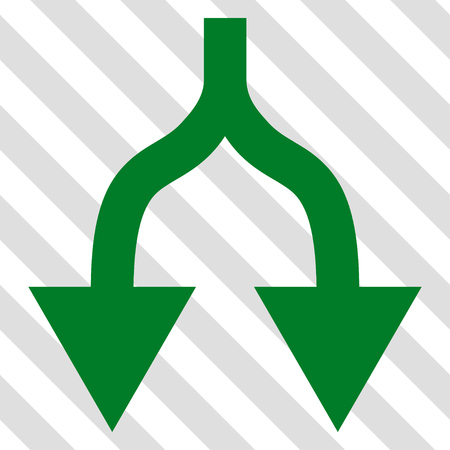 vertical divider: Split Arrows Down vector icon. Image style is a flat green iconic symbol on a hatched diagonal transparent background.