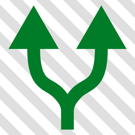 vertical divider: Split Arrows Up vector icon. Image style is a flat green pictograph symbol on a hatched diagonal transparent background.