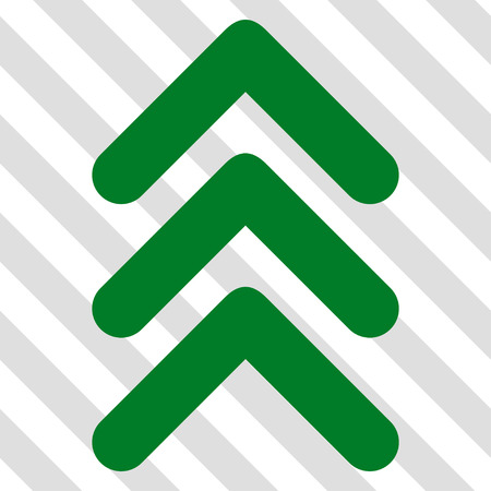 move: Triple Arrowhead Up vector icon. Image style is a flat green pictogram symbol on a hatched diagonal transparent background. Illustration