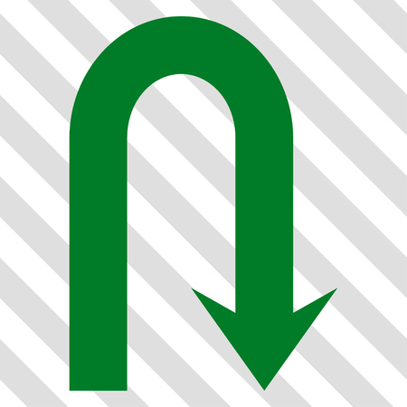 Turn Back vector icon. Image style is a flat green icon symbol on a hatched diagonal transparent background.
