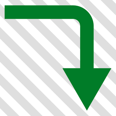 turn down: Turn Down vector icon. Image style is a flat green pictogram symbol on a hatched diagonal transparent background.