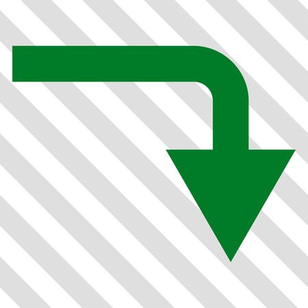 turn down: Turn Down vector icon. Image style is a flat green iconic symbol on a hatched diagonal transparent background. Illustration