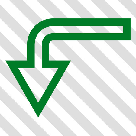 turn down: Turn Down vector icon. Image style is a flat green icon symbol on a hatched diagonal transparent background. Illustration