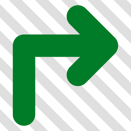 Turn Right vector icon. Image style is a flat green icon symbol on a hatched diagonal transparent background. Illustration