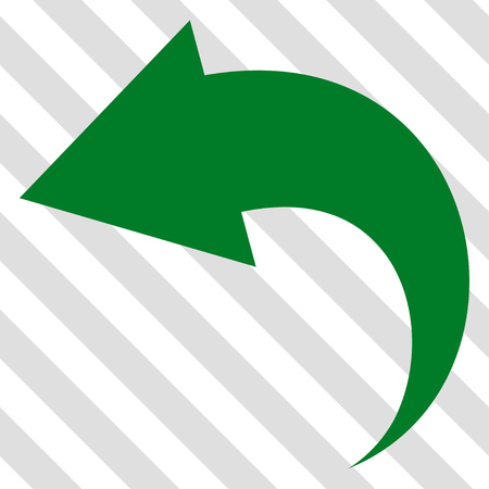 Undo vector icon. Image style is a flat green pictogram symbol on a hatched diagonal transparent background.