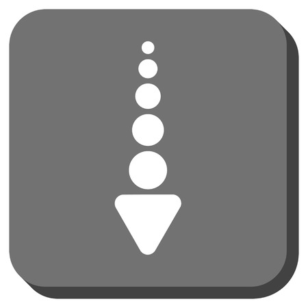 failing: Arrow Down vector icon. Image style is a flat icon symbol in a rounded square button, white and gray colors. Illustration