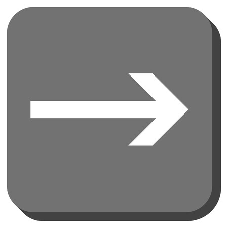 redirect: Arrow Right vector icon. Image style is a flat icon symbol on a rounded square button, white and gray colors.
