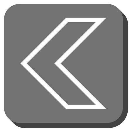 arrowhead: Arrowhead Left vector icon. Image style is a flat icon symbol in a rounded square button, white and gray colors.