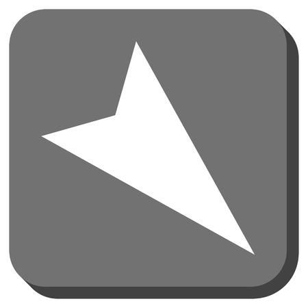 arrowhead: Arrowhead Right-Down vector icon. Image style is a flat icon symbol inside a rounded square button, white and gray colors. Illustration