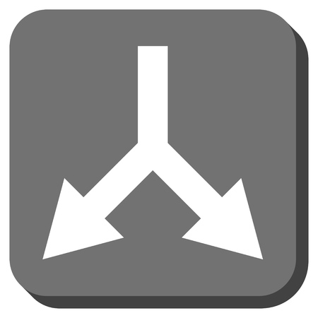 bifurcation: Bifurcation Arrow Down vector icon. Image style is a flat icon symbol on a rounded square button, white and gray colors.